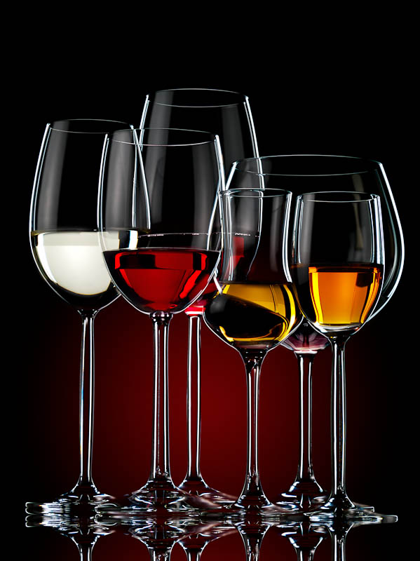 Still life photography glasses on dark background
