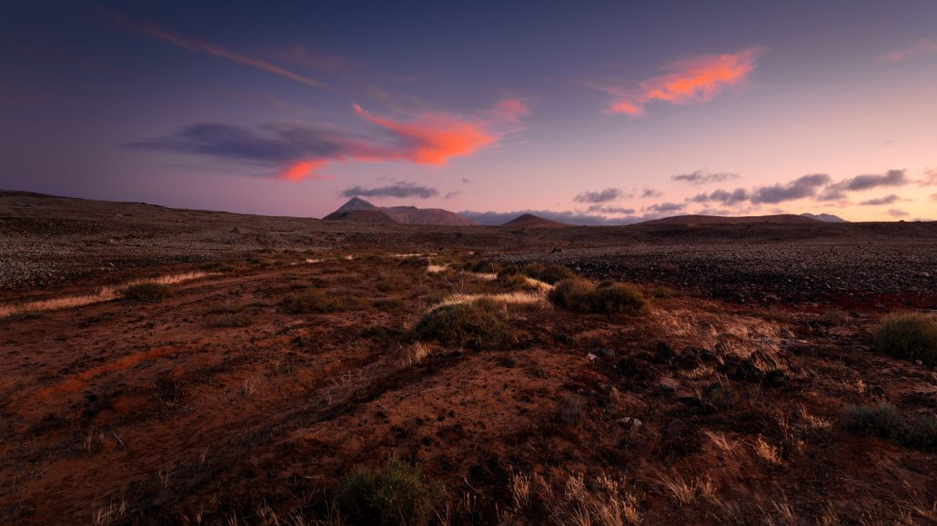 Corralejo natural park at sunset