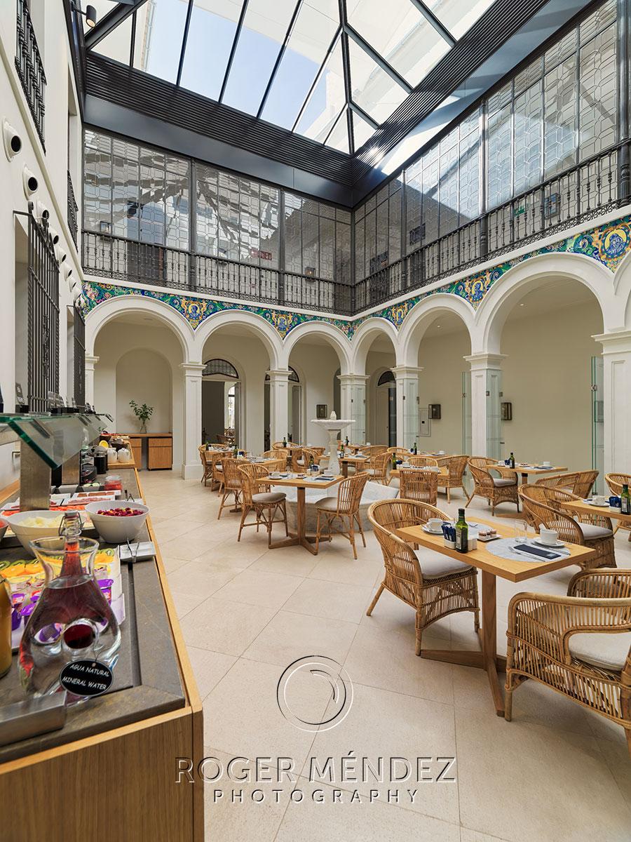 H10 Palacio Colomera. Breakfast set up at El Patio Restaurant