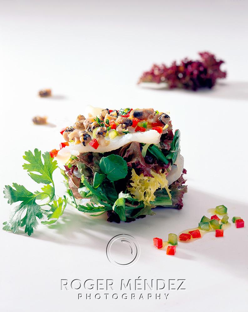 Marinated pampano salad with vinaigrette shot
