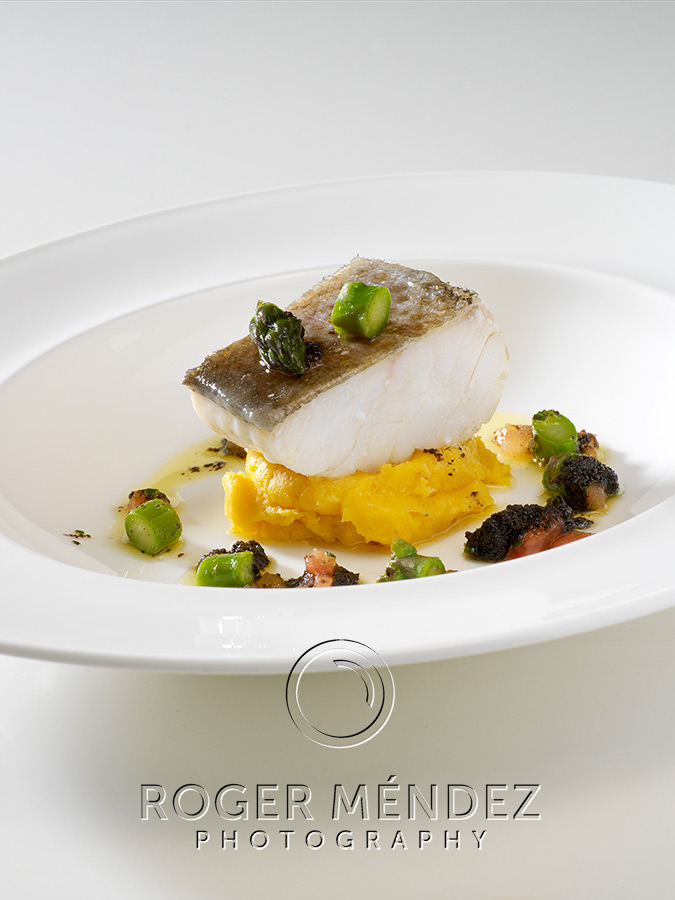 Cod confit with yellow sweet potato