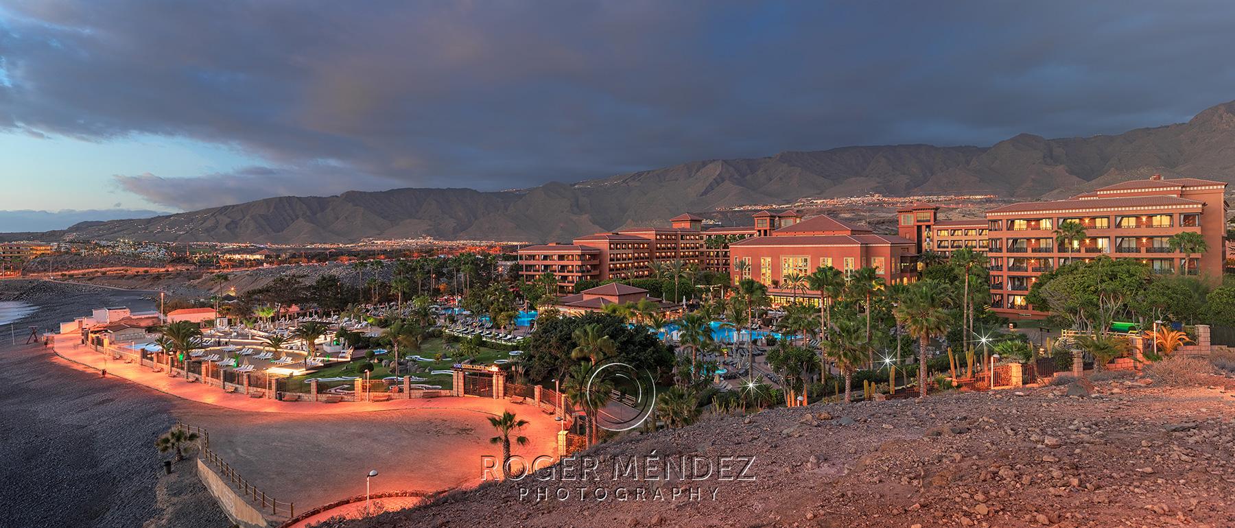 Panoramic hotel view at sunset