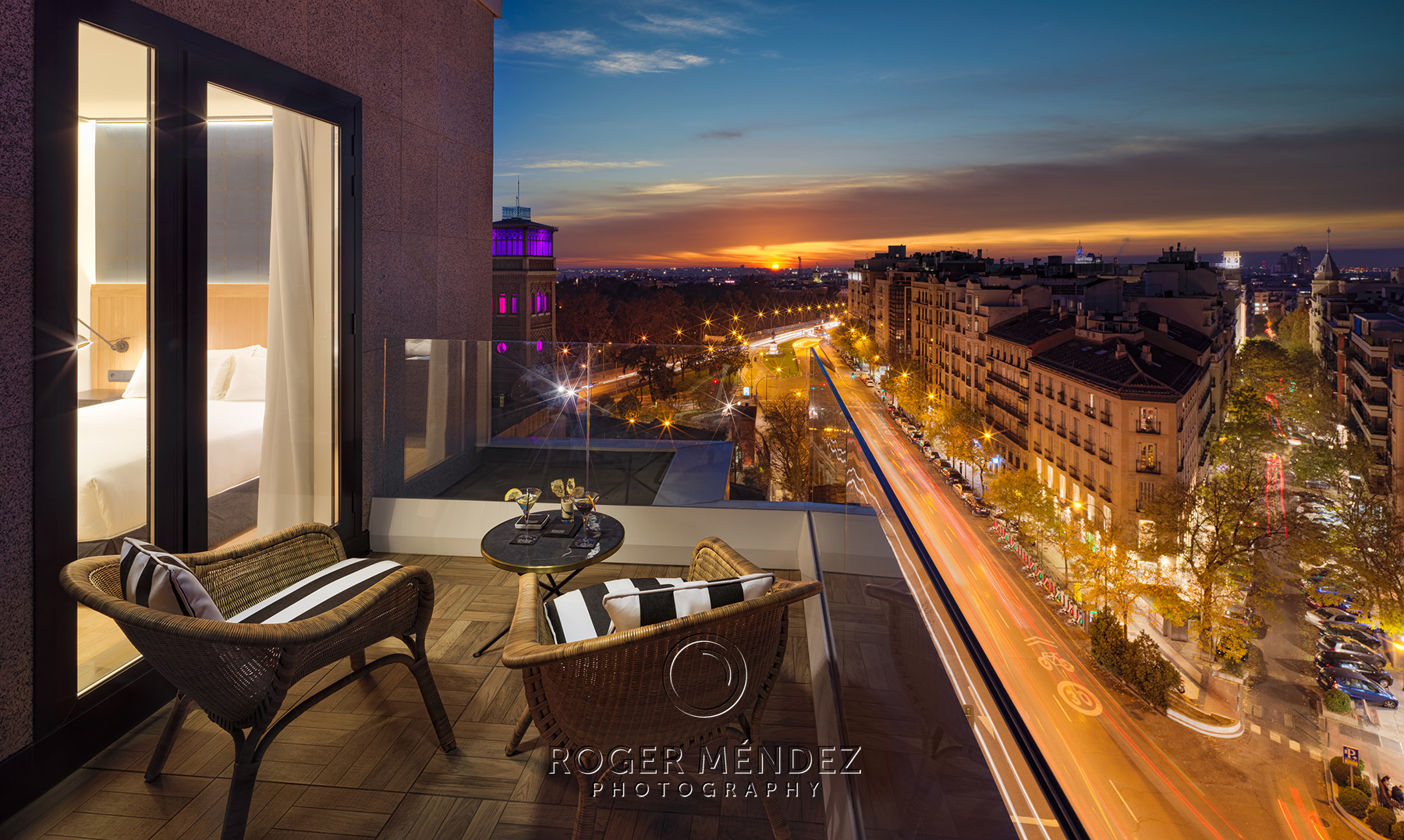 Room terrace at sunset