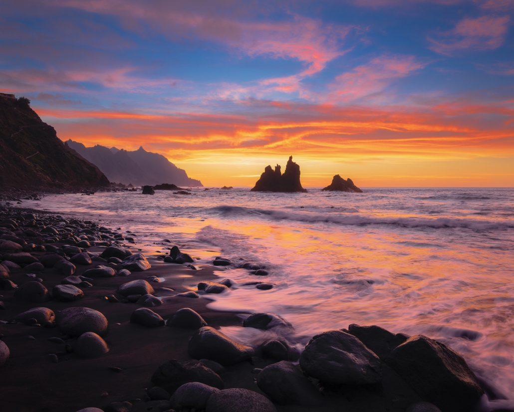 Playa de Benijo, puesta de sol