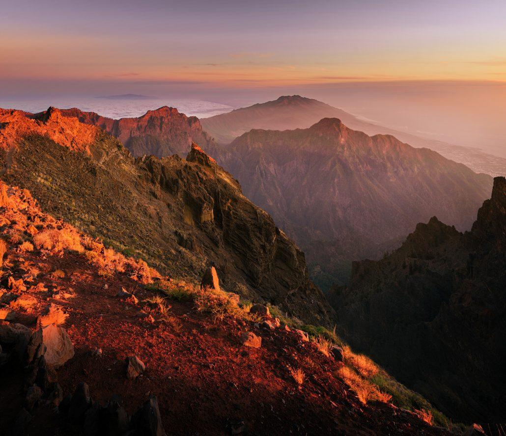 Puesta de sol sobre Parque nacional de Taburiente
