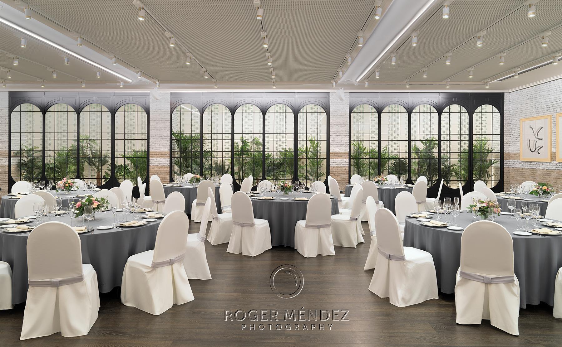 Fotografía Sala Icaria montaje banquete