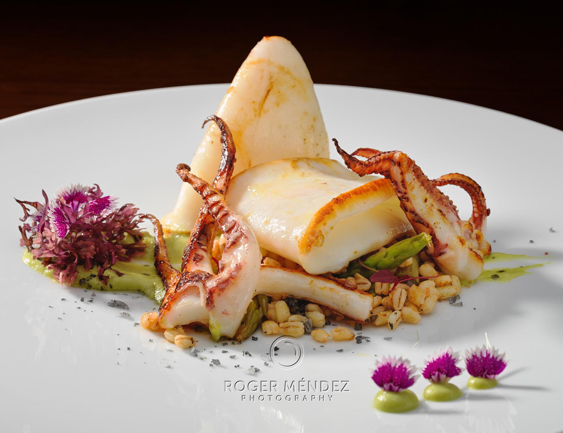 Fotografía de gastronomía Calamar Grill con cebada
