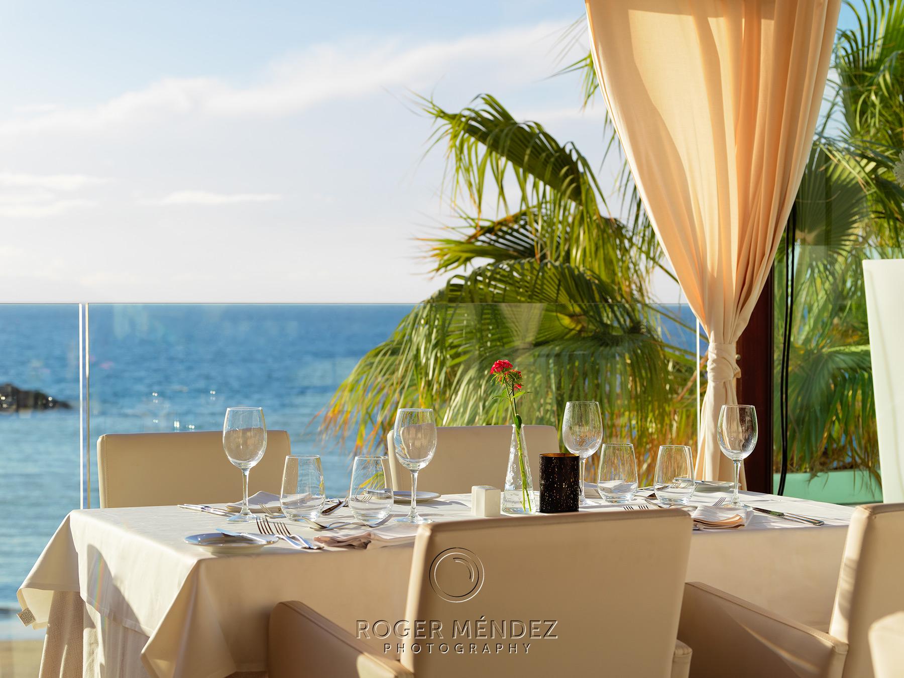 Restaurante El Mirador. Montaje cena. Vista detalle